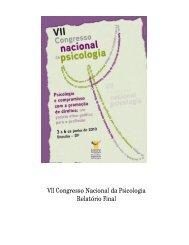 VII Congresso Nacional da Psicologia Relatório Final - Conselho ...
