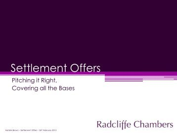 Settlement Offers - Radcliffe Chambers