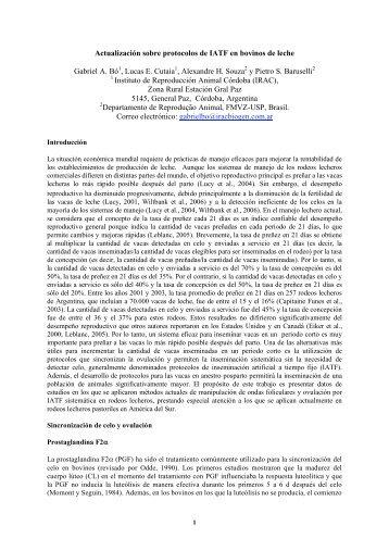 Actualización sobre protocolos de IATF en bovinos de ... - Syntex
