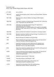 Curriculum vitae PD Dr. med. Vanadin Regina Seifert-Klauss, MD ...