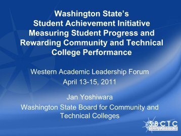Washington State's Student Achievement Initiative ... - WICHE