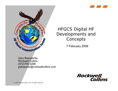 HFGCS Digital HF Developments and Concepts