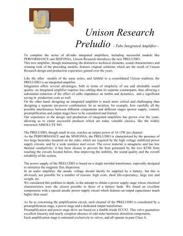 Unison Research Preludio White Paper - VMAX Services
