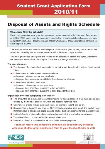 Disposal of Assets and Rights Schedule