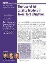 The Use of Air Quality Models in Toxic Tort - DRI Today