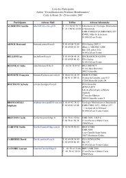 Liste des Participants Atelier