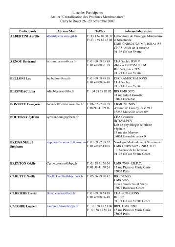 """Liste des Participants Atelier """"Cristallisation des Protéines ... - LISM"""