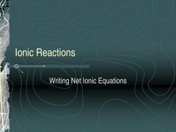 Ionic Reactions