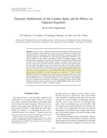 Dynamic Stabilization of the Lumbar Spine and Its Effects on ...