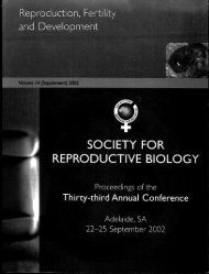 Reproduction, Fertility and Development - the Society for ...