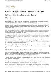 Kasa, Orms get taste of life on CU campus Buffs have ... - CUBuffs.com