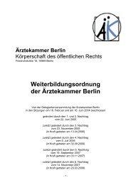 Weiterbildungsordnung inkl. 1. bis 6. Nachtrag - Ärztekammer Berlin