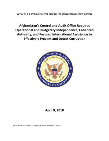 Afghanistan's Control and Audit Office Requires Operational and ...