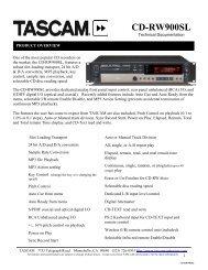 CD-RW900SL Technical Documentation - 107.84 KB - Tascam