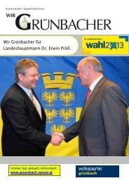 Wir Grünbacher für Landeshauptmann Dr. Erwin Pröll.