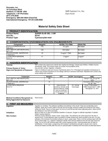 MSDS - S&R Fastener Co., Inc.