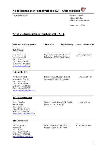 Anschriftenverzeichnis Altliga - Heidmuehler Fussballclub