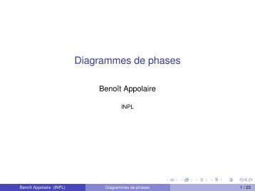 Diagrammes de phases - Mécanique Matériaux Structure