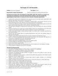 JOB DESCRIPTION - First Supply