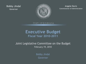 FY 11 Executive Budget Presentation to JLCB, 02/19/2010 (PDF)