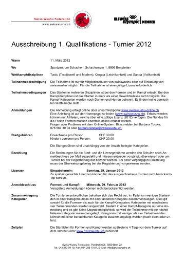 Ausschreibung 1. Qualifikations - Turnier 2012