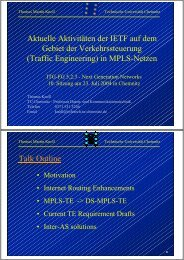 IETF activities in MPLS traffic engineering (MPLS-TE) - ITG FG 5.2.3