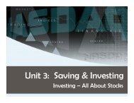 Unit 3: Saving & Investing