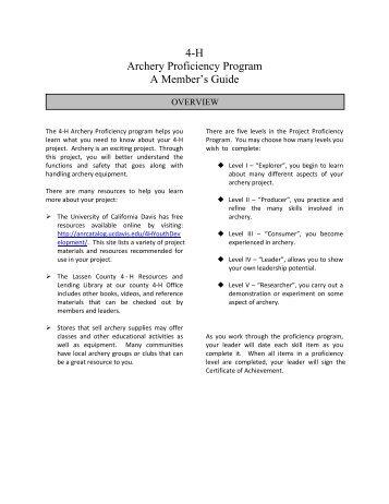 4-H Archery Proficiency Program A Member's Guide - Lassen County