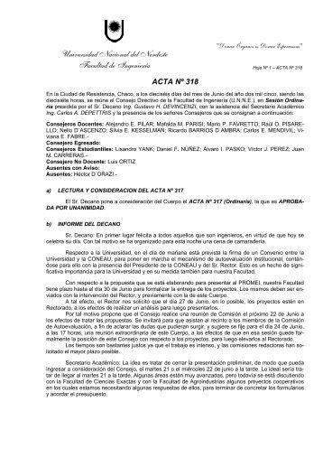 Acta 318 - unne - Universidad Nacional del Nordeste