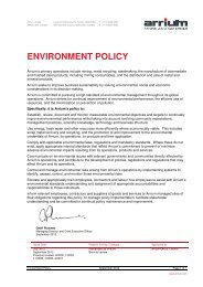 ENVIRONMENT POLICY - Arrium