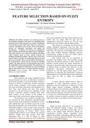 feature selection based on fuzzy entropy - IJETTCS - International ...
