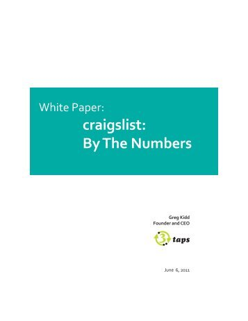 White Paper: craigslist: By The Numbers - 3Taps