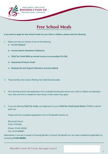 P7408-40 Free School Meals Application ... - Y Pant School