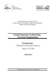 Israeli Experience in Deterring Terrorist Organizations