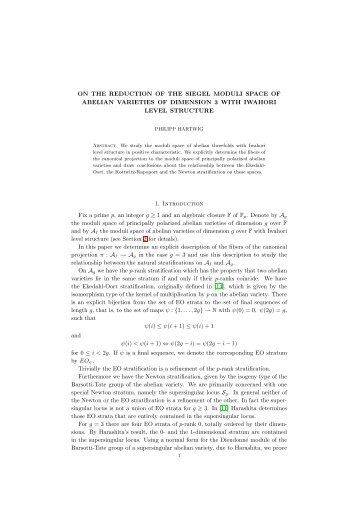 ON THE REDUCTION OF THE SIEGEL MODULI SPACE OF ...
