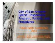 City of San Antonio: Special Inspections Program Policies ... - SEAoT