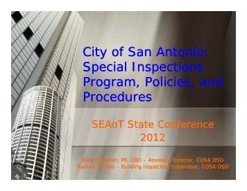 City of San Antonio: Special Inspections Program Policies ... - SEAoT