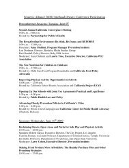 Strategic Alliance 2009 Childhood Obesity Conference Participation ...