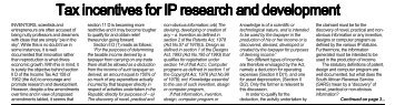 Tax incentives for IP research and development - ENS