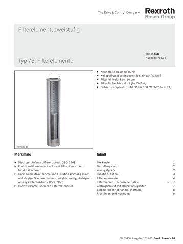 Filterelement, zweistufig Typ 73. Filterelemente