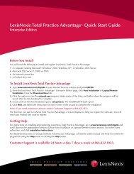 LexisNexis Total Practice Advantage™ Quick Start Guide Enterprise ...