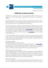 ACTIRIS Nouveau site internet