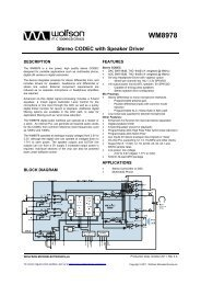 Datasheet - Wolfson Microelectronics plc