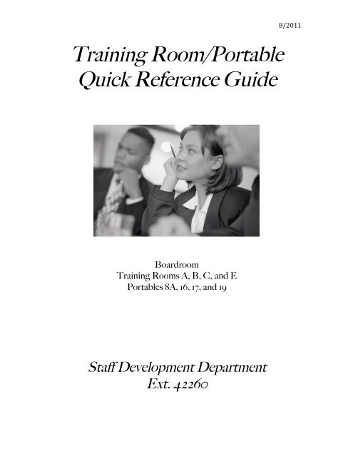 Training Room/Portable Quick Reference Guide - Pasco County ...