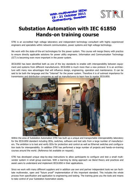 Substation Automation with IEC 61850 Hands-on training     - STRI AB