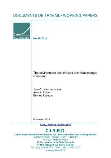 DT/WP No 2011-36 - Centre International de Recherche sur l ...