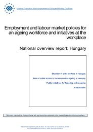 Employment and labour market policies for an ageing ... - Eurofound