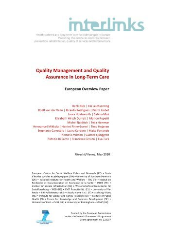 Quality Management and Quality Assurance in Long ... - Interlinks