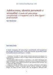 Adolescenza, identità personale e sessualità: il ruolo del ... - ACP
