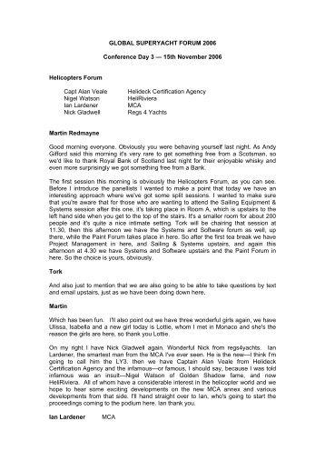 GLOBAL SUPERYACHT FORUM 2006 - SuperyachtEvents
